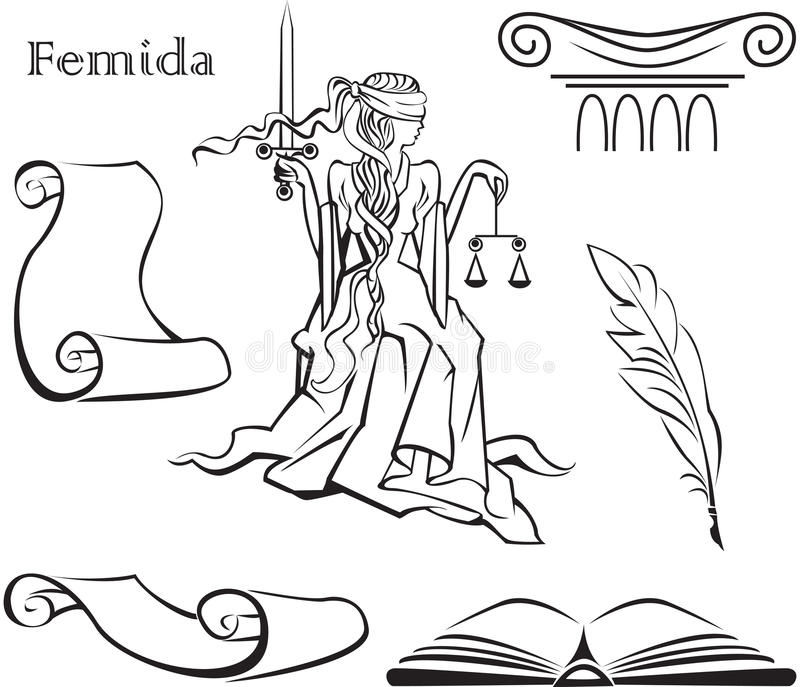 Themis - eine Göttin von Gerechtigkeit lizenzfreie abbildung