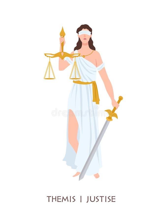 Themis eller rättvisa - gudinna av beställning, opartiskhet, lag från forntida hellenska myter Grekisk och romersk legendarisk kv royaltyfri illustrationer