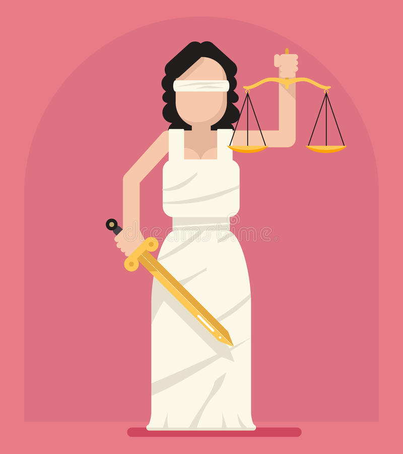 Themis Femida with scales and sword symbol of law justice flat icon vector illustration vector illustration