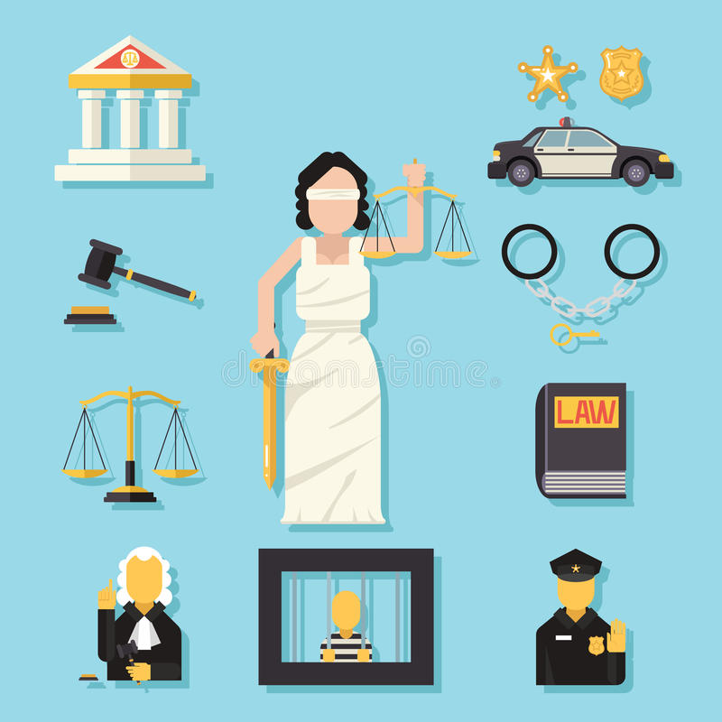 Themis Femida with scales and sword symbol of law. Themis Femida with scales sword symbol of law justice flat icons set vector illustration stock illustration