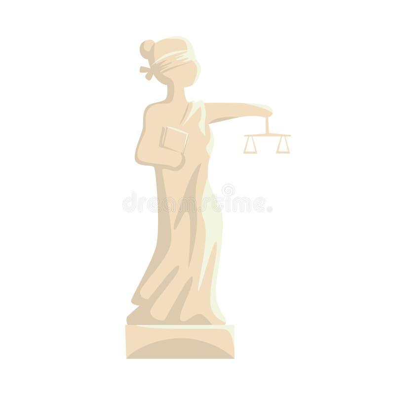 Themis Femida staty, dam av illustrationen för rättvisatecknad filmvektor vektor illustrationer