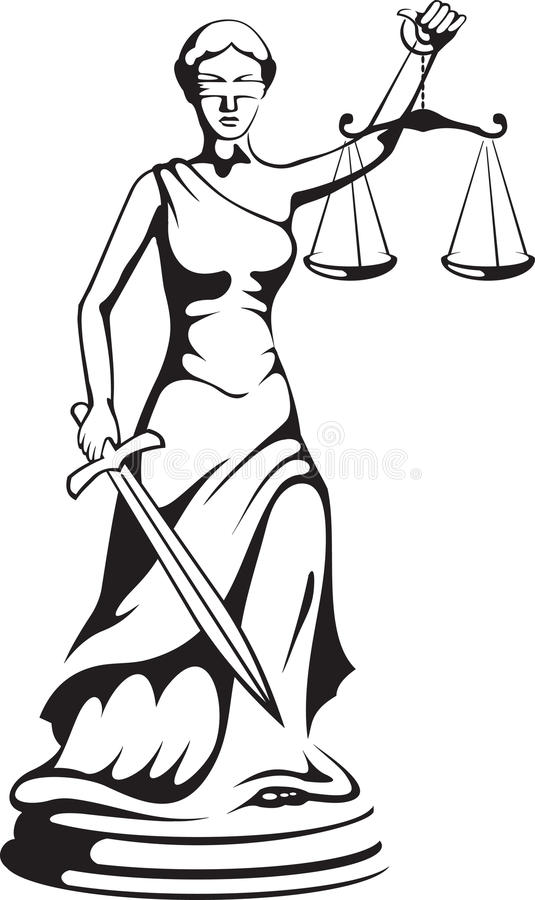 Themis - a goddess of justice stock illustration