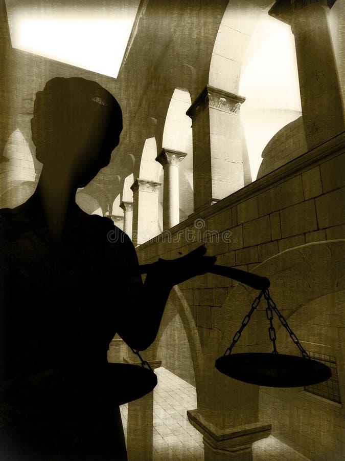 Themis i domstol stock illustrationer
