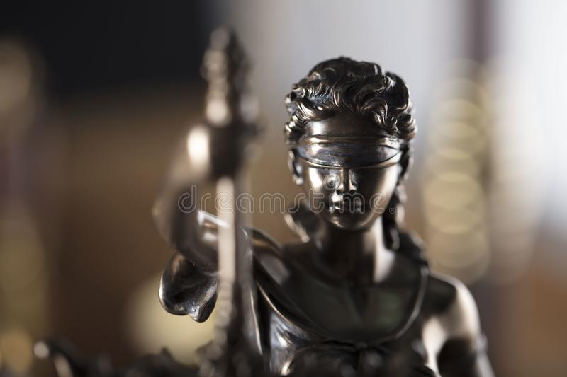 Themis and judge antique gavel. Law symbols. royalty free stock images