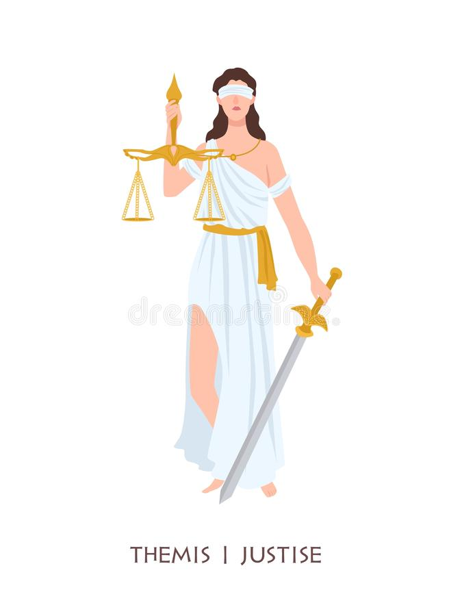 Themis or Justice - goddess of order, fairness, law from ancient Hellenic myths. Greek and Roman legendary female royalty free illustration
