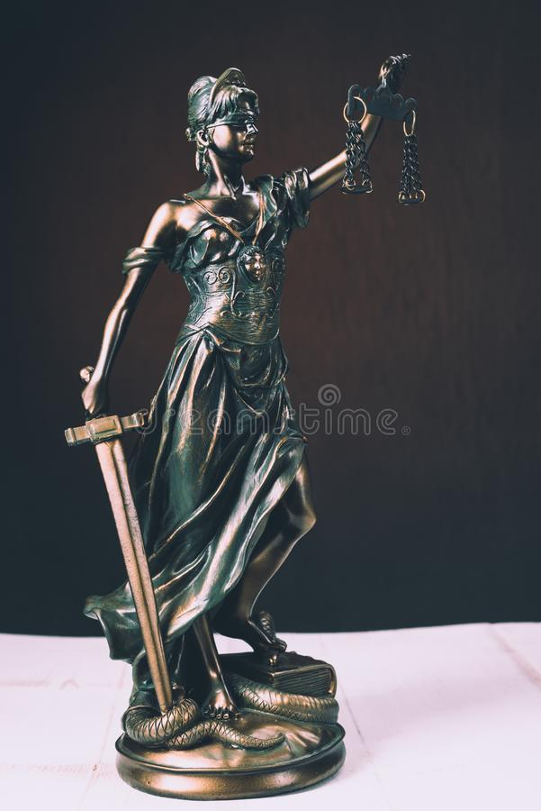Themis Statue Justice Scales Law Lawyer Business Concept stock photos
