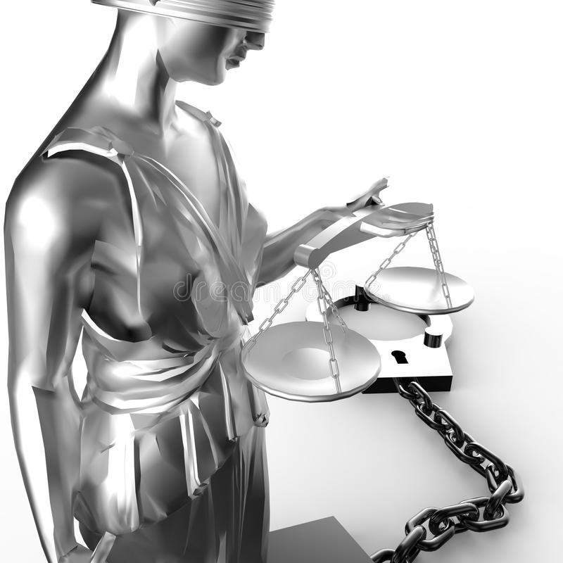 Themisstandbeeld en handcuffs vector illustratie