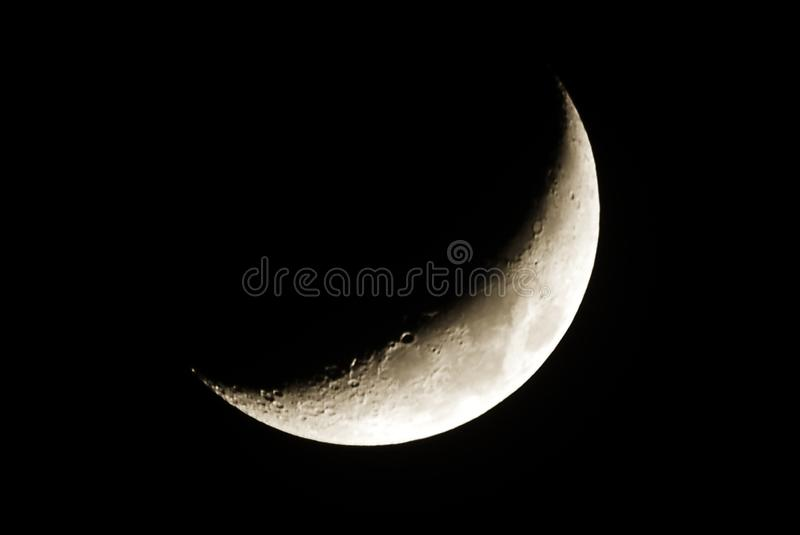The moon at night on a clear night. Themoon at night on a clear night, a natural satalight orbiting the earth stock image