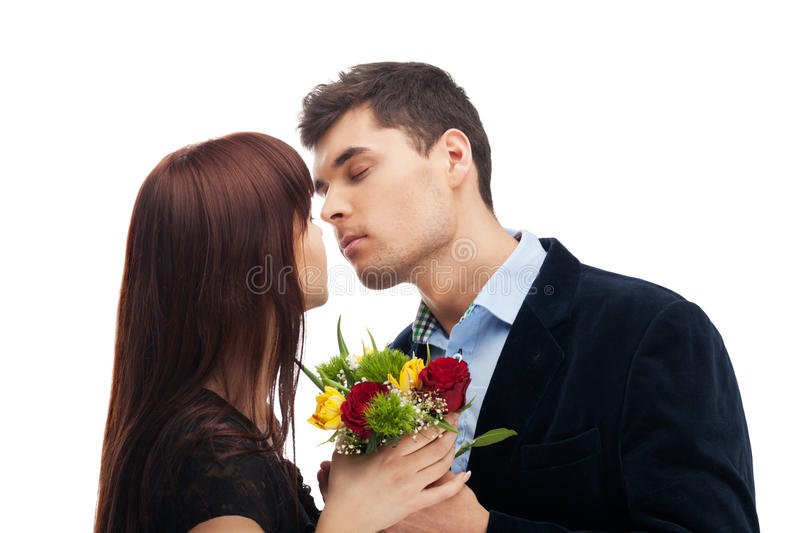 And then they kiss. Couple about to kiss on isolated white stock photos
