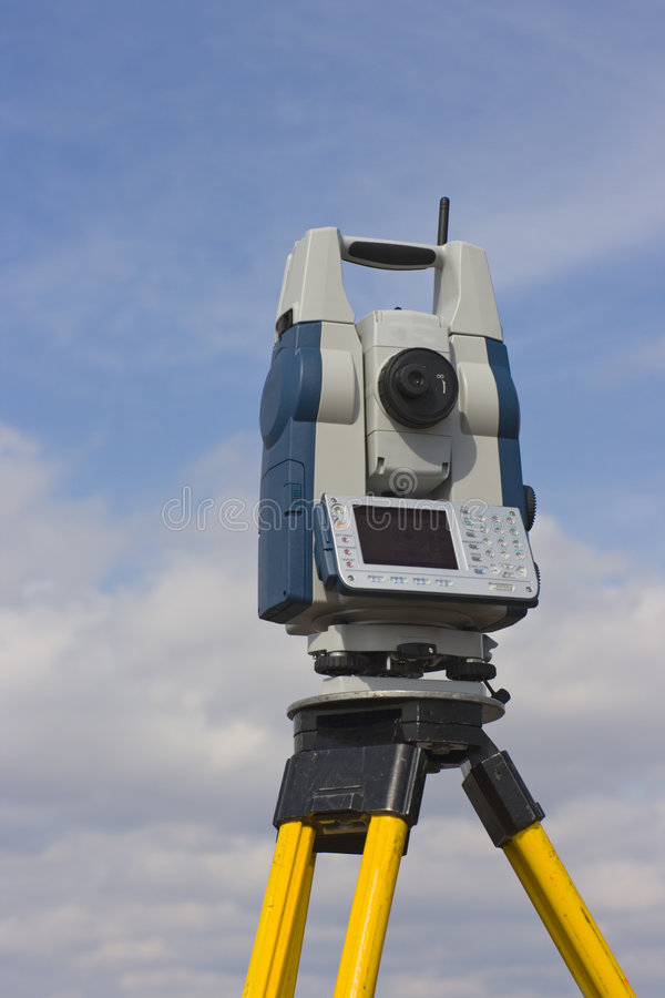 Theodolite Against Cloudy Sky Royalty Free Stock Photos