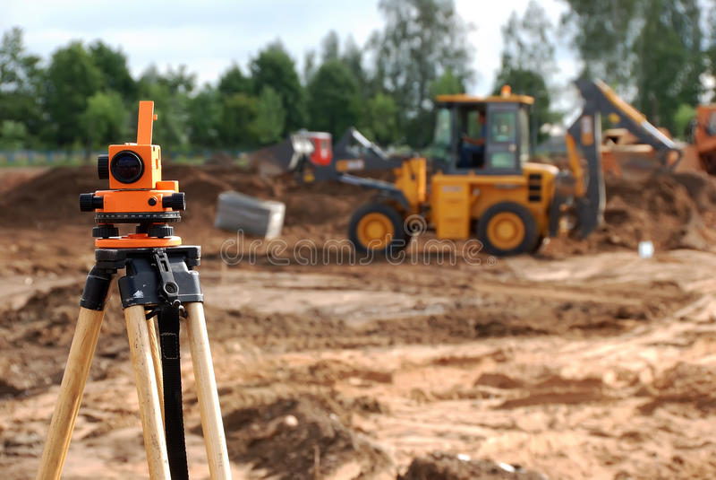 theodolite för konstruktionslokal fotografering för bildbyråer