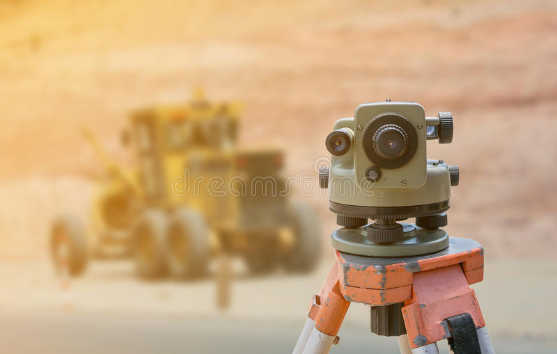 Theodolite instrument for road construct stock photography