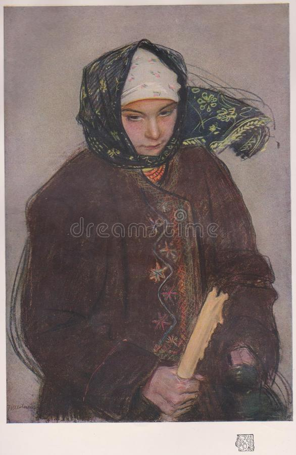 DT00074 THEODOR AXENTOWITZ - A RUTHENIAN PEASANT GIRL - Published in The Studio Magazin, London CIRCA 1910 stock photos