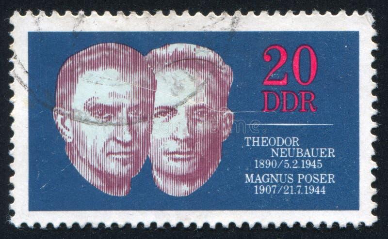 Theodor Neubauer and Magnus Poser. GERMANY - CIRCA 1970: stamp printed by Germany, shows Theodor Neubauer and Magnus Poser, circa 1970 stock images