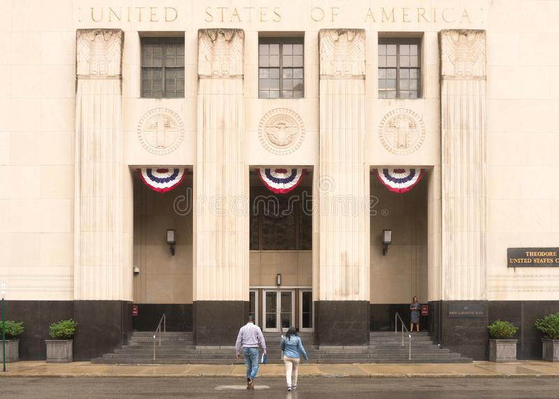 Theodore Levin United States Courthouse. Michigan, United States - July 11, 2017: Constructed during the early 1930s, the Theodore Levin US Courthouse in Detroit stock image