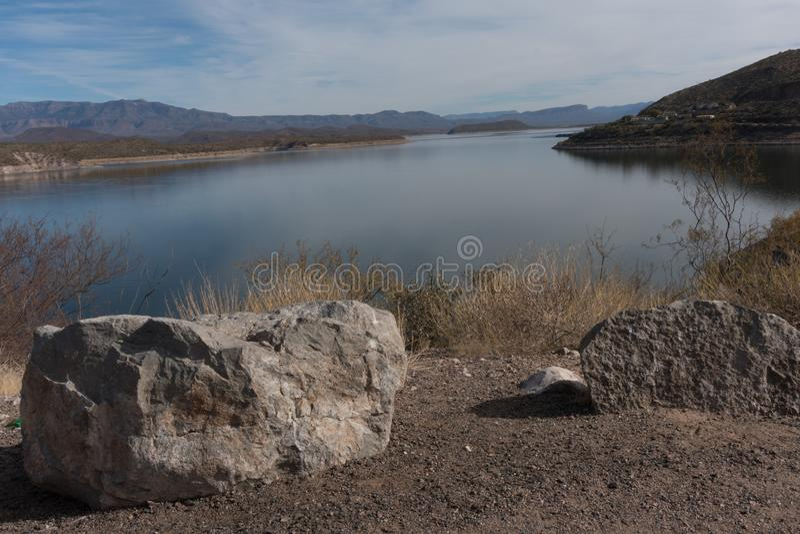 Theodore Roosevelt湖在东南亚利桑那 免版税库存图片