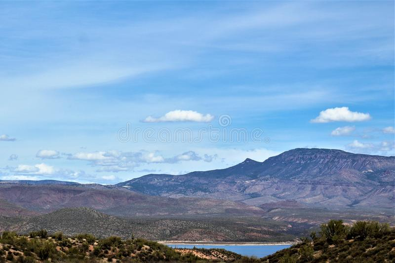Theodore Roosevelt Lake, Gila County, Arizona stock afbeelding