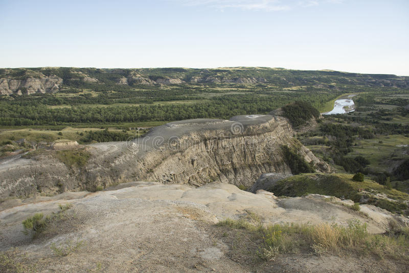 Theodore Roosevelt National Park - curvatura di Oxbow fotografia stock libera da diritti
