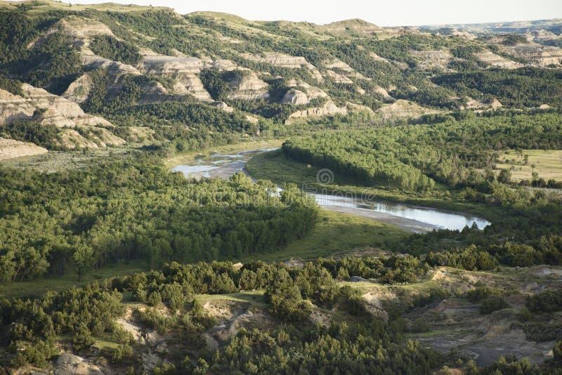 Theodore Roosevelt National Park - curvatura di Oxbow fotografia stock