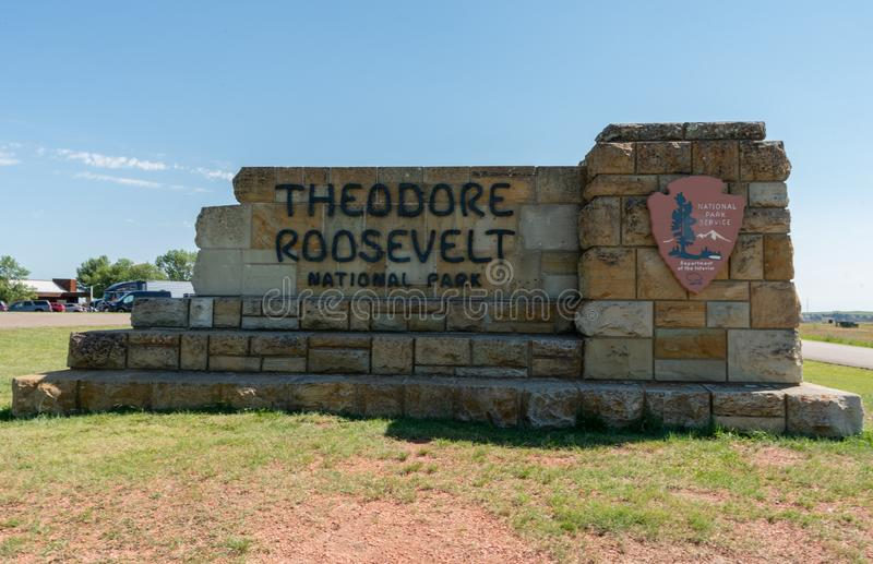 Theodore Roosevelt National Park Sign Medium royalty-vrije stock afbeelding