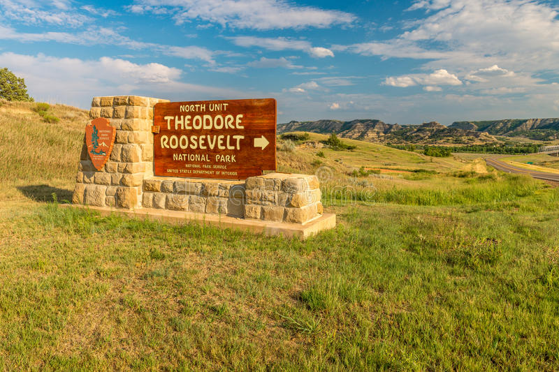 Theodore Roosevelt National Park sign. North Unit stock photos