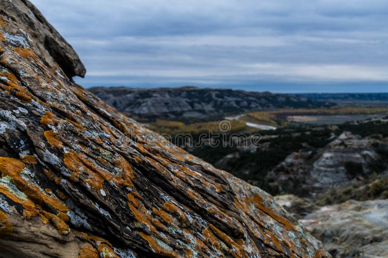 Landscape Views of Theodore Roosevelt National Park. Theodore Roosevelt National Park takes on a different look in the autumn as the fall colors come out in an royalty free stock image