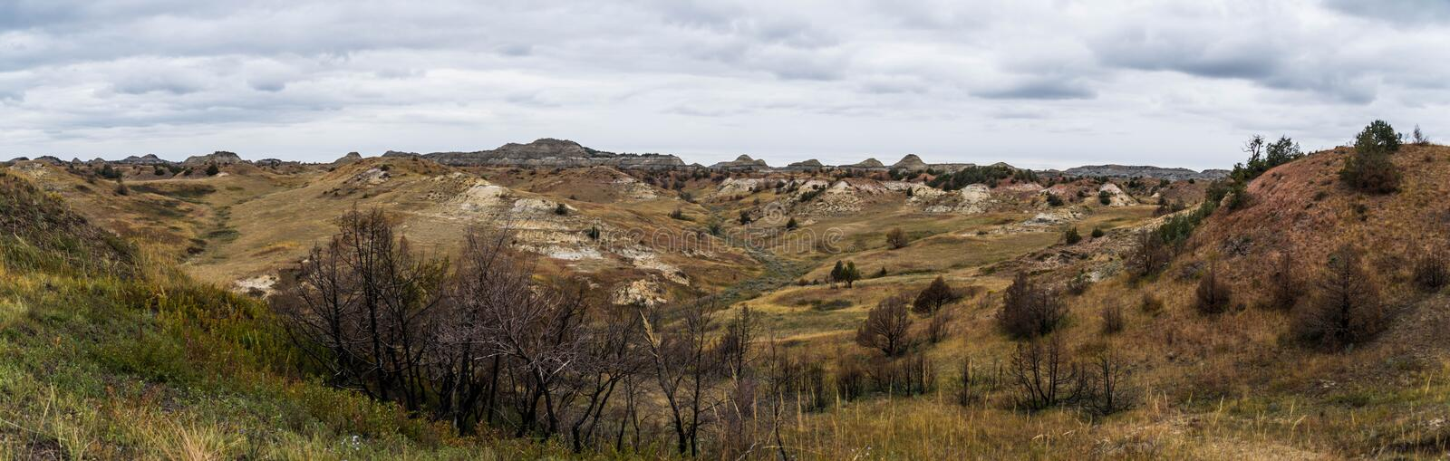 Landscape Views of Theodore Roosevelt National Park. Theodore Roosevelt National Park takes on a different look in the autumn as the fall colors come out in an stock image