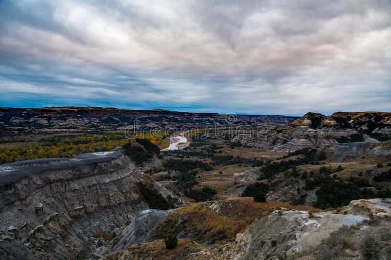 Landscape Views of Theodore Roosevelt National Park. Theodore Roosevelt National Park takes on a different look in the autumn as the fall colors come out in an stock photos