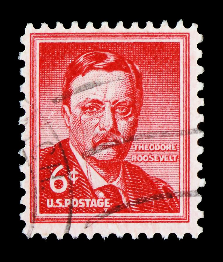Theodore Roosevelt 1858-1919, 26th President of the U.S.A., Liberty Issue serie, circa 1955. MOSCOW, RUSSIA - FEBRUARY 22, 2019: A stamp printed in United States royalty free stock photography