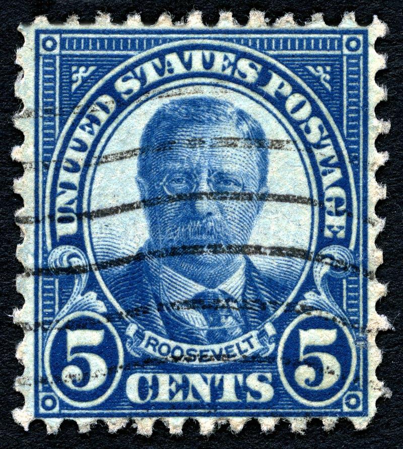 Theodore Roosevelt USA portostämpel royaltyfria bilder