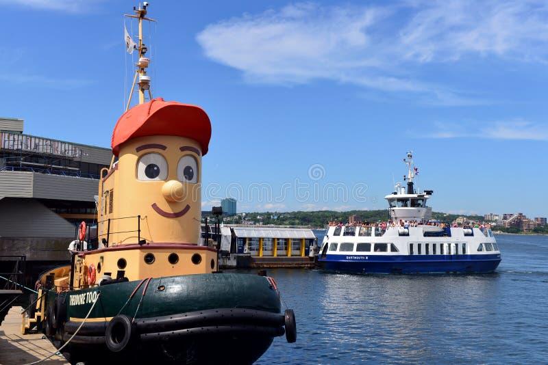 Theodore Tugboat e balsa de Dartmouth imagens de stock