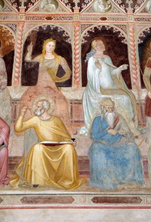 Theology-St John od Damascus, Contemplation-St. Dionysius, Areopagite, Santa Maria Novella, Florença imagem de stock royalty free