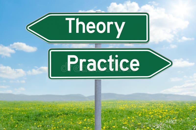Theorie oder Praxis stockbilder