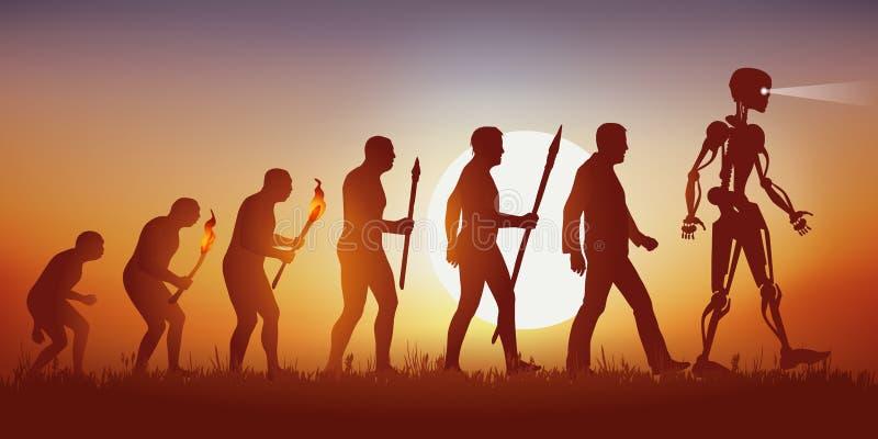 Theorie van de evolutie die van het menselijke silhouet van Darwin's in de robot met kunstmatige intelligentie beëindigen stock illustratie