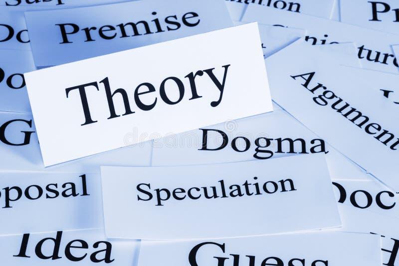 Theorieconcept in Woorden stock afbeelding