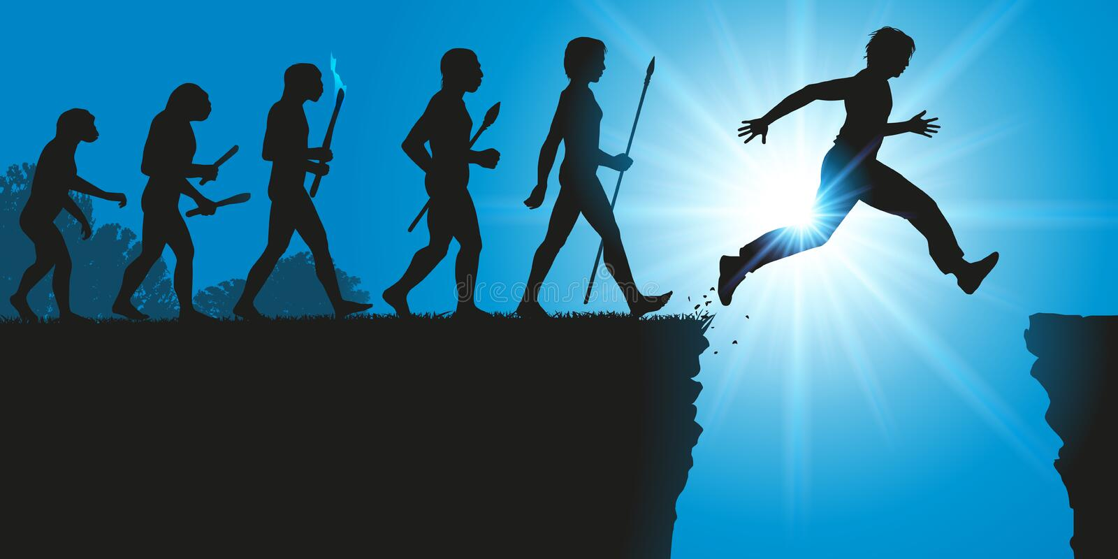 Concept of the evolution of humanity with a leap into the unknown. The theory of Darwin's evolution with a man who spans a crevasse symbolizing the vector illustration