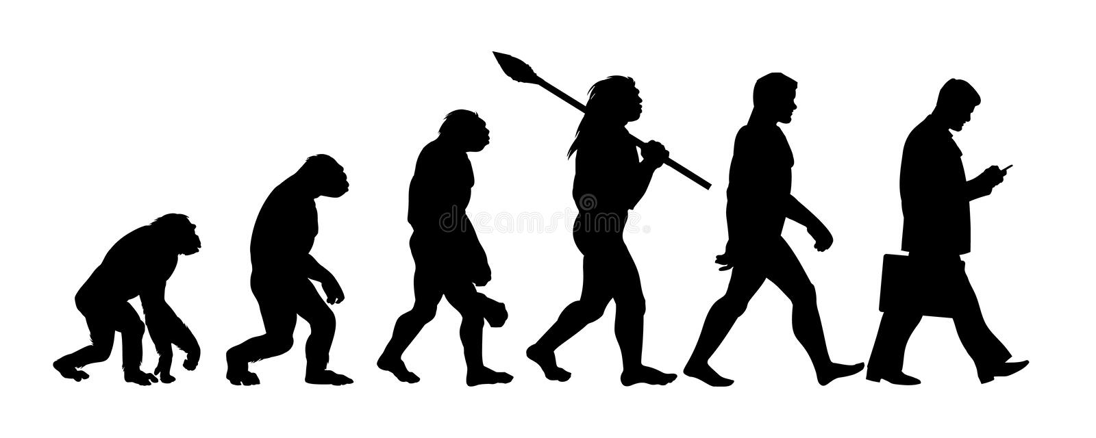 Theory of evolution of man silhouette. Human development from monkey to modern businessmen with briefcase talking on mobile phone. Hand drawn sketch vector vector illustration