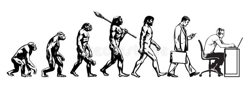 Theory of evolution of man vector illustration
