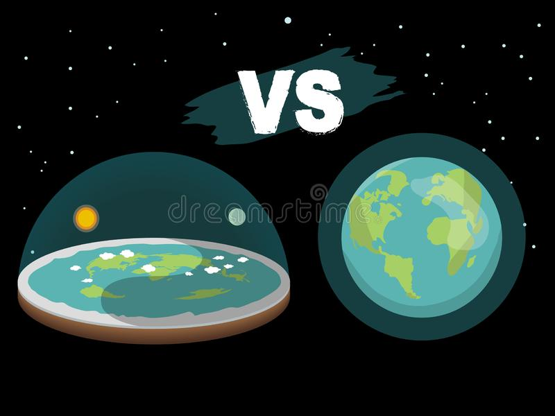 Theory of flat earth. Flat Earth in space with sun and moon vs spherical earth. Vector illustration royalty free illustration