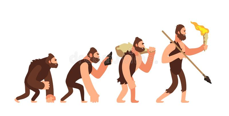 Theory of human evolution. Man development stages. Anthropology vector illustration vector illustration