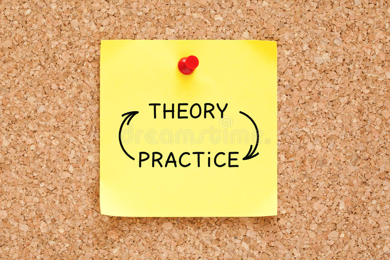 Theory Practice Arrows Concept On Sticky Note stock image