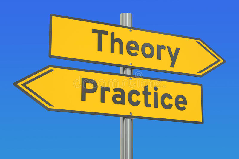 Theory or practice concept on the road signpost, 3D rendering. Theory or practice concept on the road signpost royalty free illustration