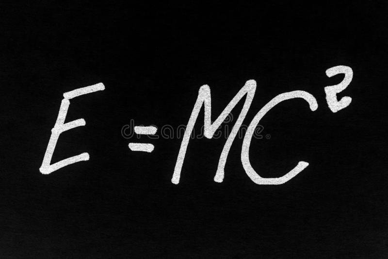 Theory of relativity formula stock image