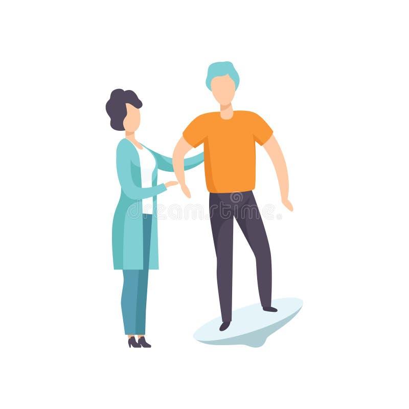 Therapeut die met gehandicapte patiënt werken die speciaal materiaal, terugwinning na trauma, medische fysieke rehabilitatie met  vector illustratie