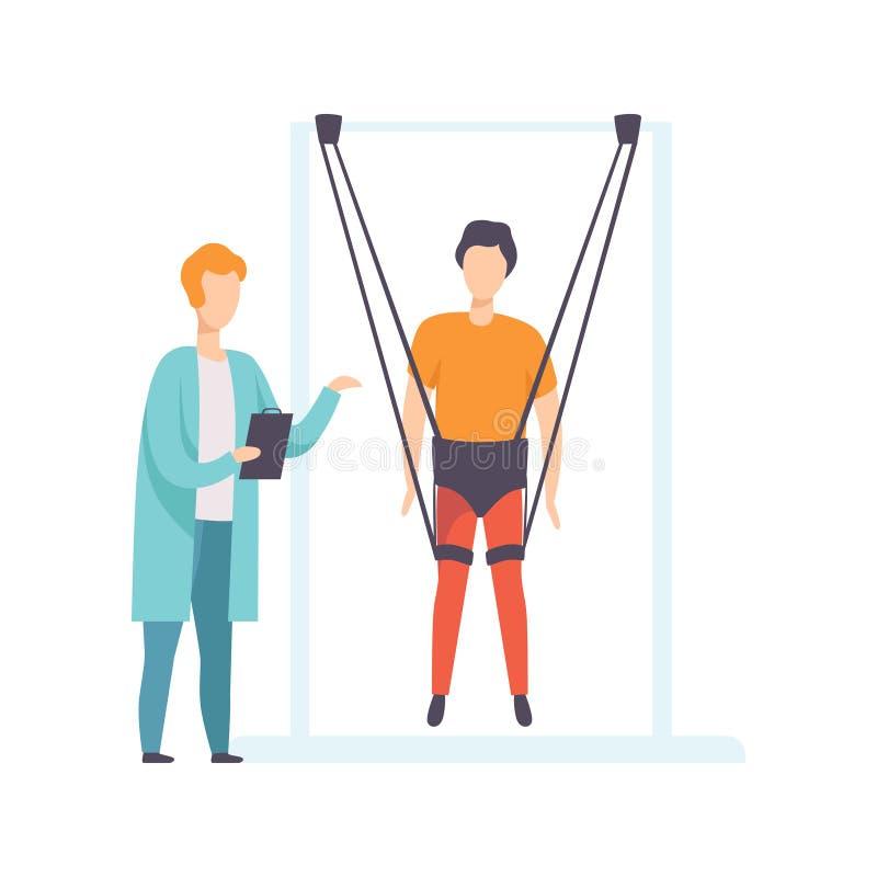 Therapeut die met gehandicapte patiënt werken die speciale kabels voor intense lichaam opleiding, gezonde levensstijl gebruiken e stock illustratie