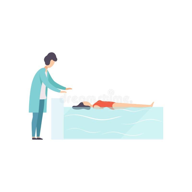 Therapeut die met gehandicapte vrouwelijke patiënt werken die in zwembad, medische rehabilitatie, fysieke therapieactiviteit ligg stock illustratie
