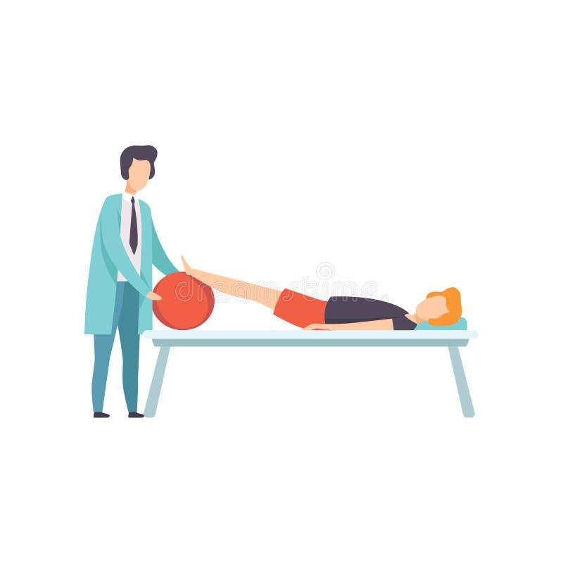 Therapeut die met het gehandicapte geduldige liggen aan de laag werken, medische rehabilitatie, de fysieke vector van de therapie royalty-vrije illustratie