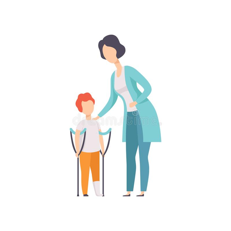 Therapeut die met weinig jongen met breuk van been, terugwinning na trauma, medische rehabilitatie, fysieke therapie werken vector illustratie