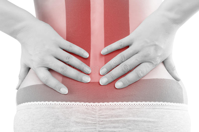 Therapeutic tape on lower back. royalty free stock photography