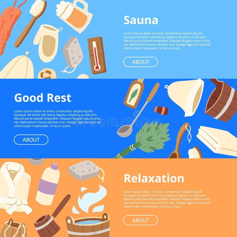 Therapie van de sauna ontspannen de vector houten heat spa ontspanning en de hete achtergrond van de stoomgezondheidszorg de emme royalty-vrije illustratie